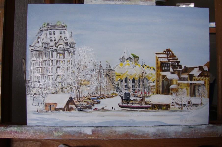 Witte huis en haven in de sneeuw
